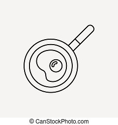 Omelette pan line icon