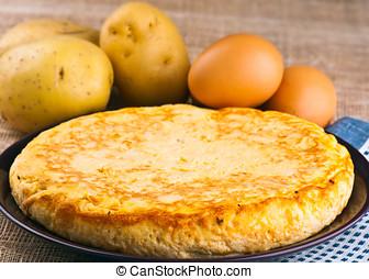 omelette, potatoes., cozinha, ovos, espanhol, típico