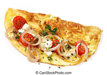 Omelette with cherry tomatoes, grilled red onions, mozzarella, goat's cheese and herbs, isolated on white.