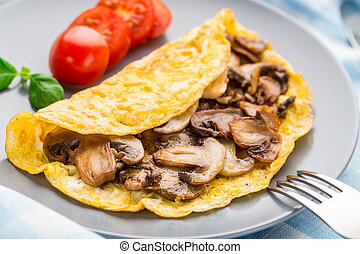 Omelette with mushrooms - Homemade omelette with mushrooms...