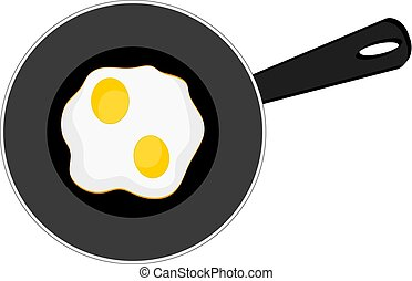 omeletteer, vecteur, oeufs, illustration, fond, icône, blanc, petit déjeuner frit, moule, stockage