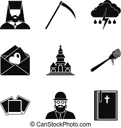Omen icons set, simple style - Omen icons set. Simple set of...