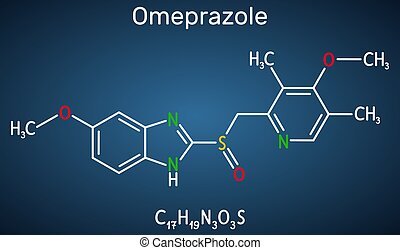 Omeprazole, C17H19N3O3S molecule. It is used to treat gastric acid-related disorders, peptic ulcer disease, gastroesophageal reflux disease GERD. Dark blue background. Vector illustration