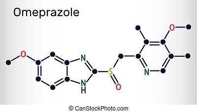Omeprazole, C17H19N3O3S molecule. It is used to treat gastric acid-related disorders, peptic ulcer disease, gastroesophageal reflux disease GERD. Skeletal chemical formula. Vector illustration