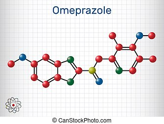 Omeprazole, C17H19N3O3S molecule. It is used to treat gastric acid-related disorders, peptic ulcer disease, gastroesophageal reflux disease GERD. Sheet of paper in a cage. Vector illustration