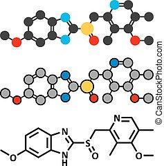 omeprazole, dyspepsia, og, peptisk mavesår, disease, medicin, (proton, pumpe, inhibitor), molecule.