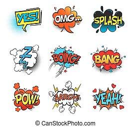 omg, 破砕音, pow, 強打, スピーチ, 漫画, 泡