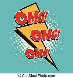 omg comic lightning. Pop art retro vector illustration