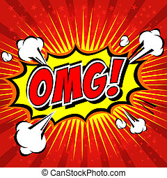 OMG! Comic Speech Bubble, Cartoon. - Comic Speech Bubble,...