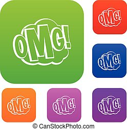 OMG, comic text speech bubble set color collection
