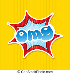 omg comics icon over yellow background vector illustration