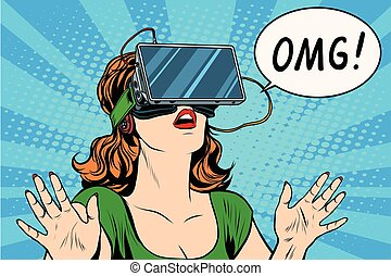 OMG emotions from virtual reality retro girl pop art retro...