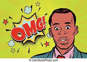 omg pop art African man surprise illustration