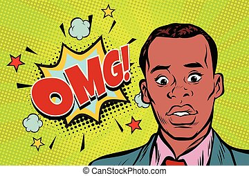 omg pop art African man surprise illustration