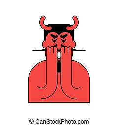 OMG red devil. Oh my god Satan. frightened demon