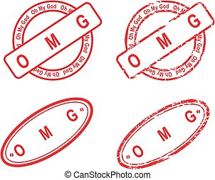 OMG red stamp isoalted collection in vector format