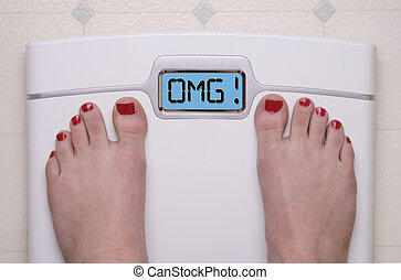 OMG Scale - Digital Bathroom Scale Displaying OMG Message