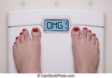 OMG Scale - Digital Bathroom Scale Displaying OMG Message
