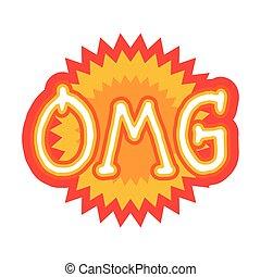 Omg Sticker Social Media Network Message Badges Design...