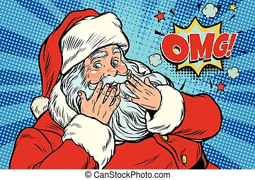 OMG surprise Santa Claus reaction. New year and Christmas. ...