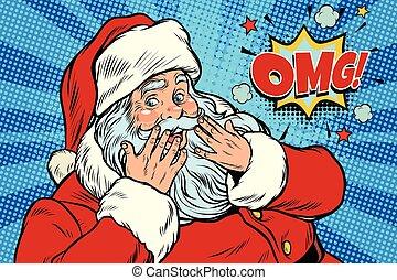 OMG surprise Santa Claus reaction. New year and Christmas. Pop art retro vector illustration