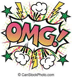 OMG Text Design - OMG! Text Design Pop Art-styled cartoon...