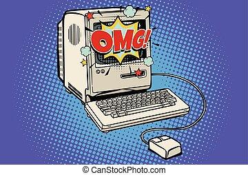 OMG vintage retro computer. Pop art retro vector...