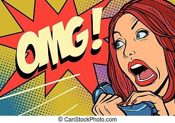 OMG Woman screams in phone. Comic cartoon pop art retro...
