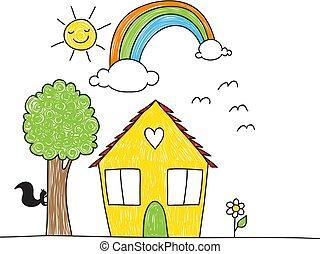 omgeving, stijl, tekening, kinderen, woning