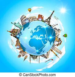 omgivande, minnesmärkena, planet, berömd, värld, mull