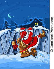 omheining, beklimmingen, groot, op, claus, zak, kerstman