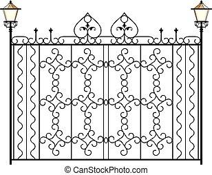 omheining, grill, deur, venster, ontwerp, ijzer, hek, wrought, poort