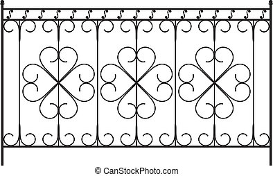 omheining, grill, deur, venster, ontwerp, ijzer, hek, ...