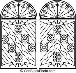 omheining, grill, deur, venster, ontwerp, ijzer, hek,...
