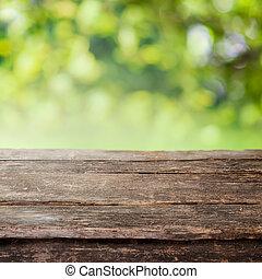 omheining, houten, land, bovenzijde, of, rustiek, tafel, ...
