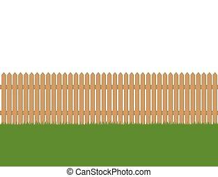 omheining, houten, seamless, vrijstaand, groene achtergrond, witte , gras