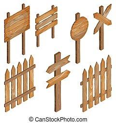 omheining, houten, signboards, richtingwijzer, teken.