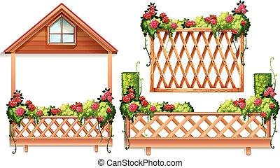 omheining, ontwerp, met, rozen, en, struik