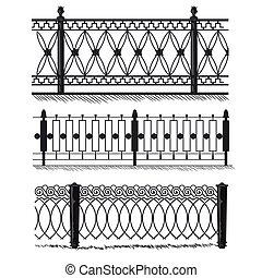 omheining, poorten, fences., vervaardigd-ijzer, metaal, voorwerpen, architectuur, poort, grill