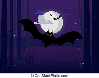 ominous black bat in the midnight forest