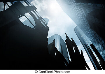 Ominous CityScape - Abstract architectural city scape a...