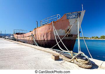 omis., pier., bateau, rouillé, vieux