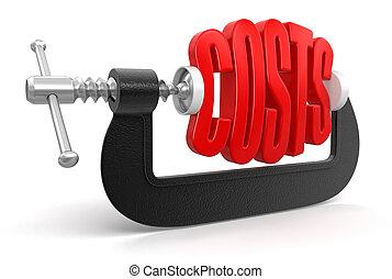 omkostninger, ind, klampe