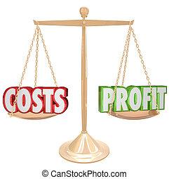 omkostninger, vs., fortjeneste, guld, balance, veje, gloser