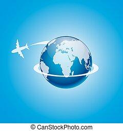 omkring, flygning, illustration, vektor, airplane, globe.