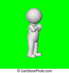omkring, folk, avskärma, -, hand, bröstkorg, grön, 3