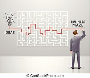 omkring, grafik, success., firma, labyrint, conceptuel, løsning, vektor, labyrint, forretningsmand, design., synes, illustrations.