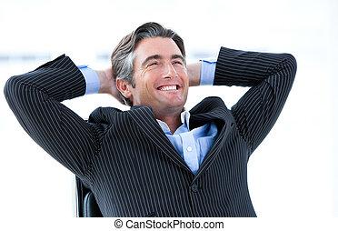 omkring, hans, held, tænkning, virksomhedsleder, le, mandlig