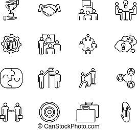 omkring, held, arbejder, iconerne, skitseret, folk, business., samling, strategi, samarbejde, samarbejde, vektor, illustration, sammen, hold træffes, set., mål