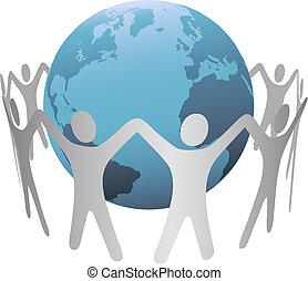 omkring, kedja, folk, planet värld, ringa